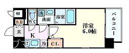 エスリード新大阪グランゲートサウス 3階1Kの間取り