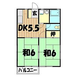 ビコウハイツB棟[2階]の間取り