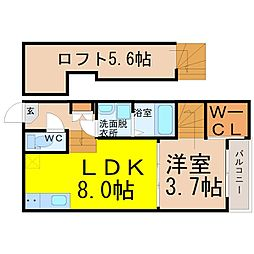 愛知県名古屋市中川区柳瀬町1丁目の賃貸アパートの間取り