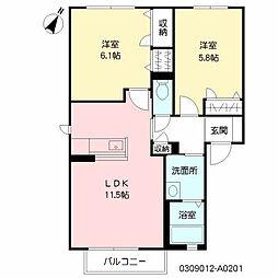 シャーメゾンハックベリー A棟[2階]の間取り