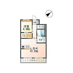 つくば市流星台新築マンション(仮) 3階1LDKの間取り