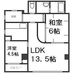 北海道札幌市西区山の手一条2丁目の賃貸マンションの間取り