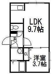 北海道札幌市中央区南八条西10丁目の賃貸マンションの間取り
