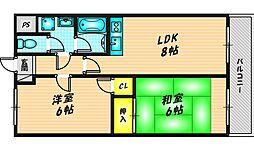 トリイプラザマンション2 2階2LDKの間取り