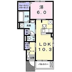 石橋アパート[1階]の間取り