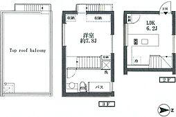 JR山手線 恵比寿駅 徒歩10分の賃貸マンション 2階1LDKの間取り