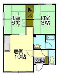 若竹アパート 2階[1階]の間取り