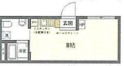 (仮称)台東区上野桜木2丁目マンションB 1階ワンルームの間取り