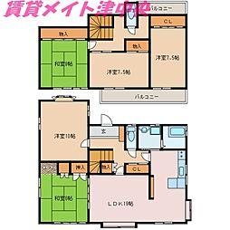 [一戸建] 三重県津市桜橋1丁目 の賃貸【/】の間取り