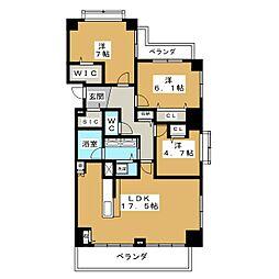 三旺マンション第3新栄[5階]の間取り