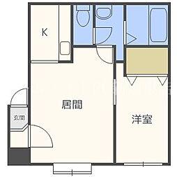 北海道札幌市北区篠路二条3丁目の賃貸アパートの間取り