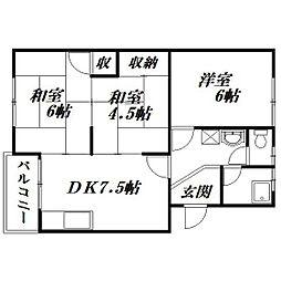静岡県浜松市中区萩丘5丁目の賃貸マンションの間取り
