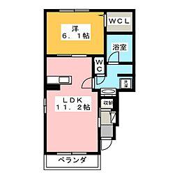 静岡県静岡市葵区上伝馬の賃貸アパートの間取り