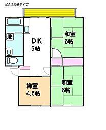 大和田パークハイツA[201号室]の間取り