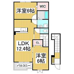 JR飯田線 沢駅 徒歩32分の賃貸アパート 2階2LDKの間取り
