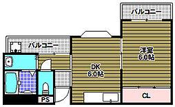 ツカサロイヤルハイツ千代田[3階]の間取り