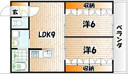 福岡県北九州市小倉南区日の出町1丁目の賃貸アパートの間取り