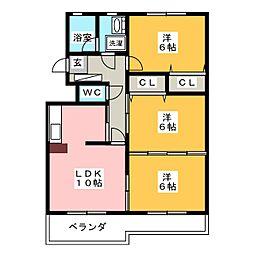 ハイツ ラ・ペーラ[3階]の間取り