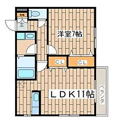 神奈川県大和市柳橋4丁目の賃貸アパートの間取り