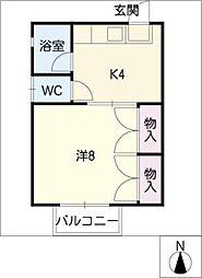 シングル高師コーポ[2階]の間取り