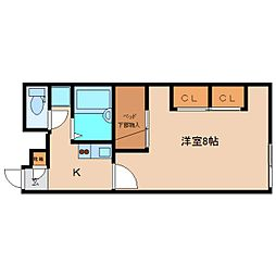 近鉄大阪線 五位堂駅 徒歩12分の賃貸アパート 1階1Kの間取り