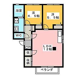 コーポ潮鳴A[2階]の間取り