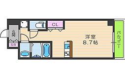 アドバンス西梅田II 7階ワンルームの間取り