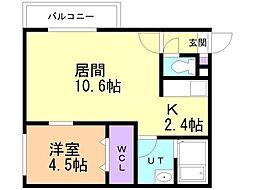 仮)美園12-7MS 2階1LDKの間取り