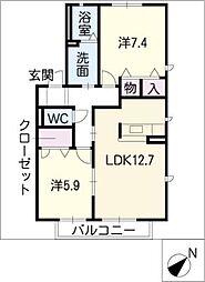 ステラB棟[2階]の間取り