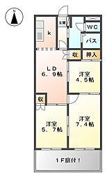 ピュアグランデMIYANISHI[1階]の間取り
