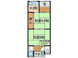 京都府京都市伏見区向島丸町の賃貸アパートの間取り