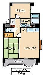 仙台市営南北線 勾当台公園駅 徒歩9分の賃貸マンション 4階2LDKの間取り