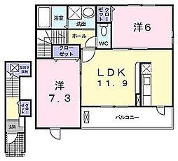大阪府交野市幾野2丁目の賃貸アパートの間取り