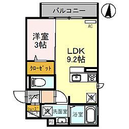 (仮称)D-room玉井町 3階1LDKの間取り