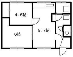 豊岡13−3 2戸貸家 平屋タイプ[zzz号室]の間取り