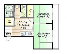広島県広島市中区羽衣町の賃貸マンションの間取り