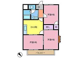 サンライズ富士3号館[2階]の間取り