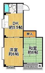 泉尾シャルマン[4階]の間取り