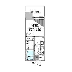 六本木グランドタワーレジデンス 2階1Kの間取り