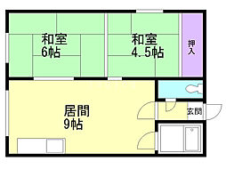 佐藤マンション 2階2DKの間取り