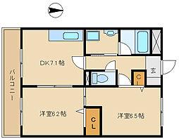 兵庫県尼崎市武庫元町3丁目の賃貸マンションの間取り