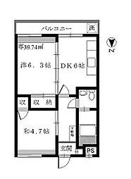 東京都世田谷区経堂3丁目の賃貸アパートの間取り