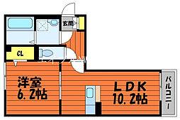 ル・シェル中庄I 3階1LDKの間取り