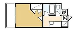 カンセイホーム樋川 7階1Kの間取り