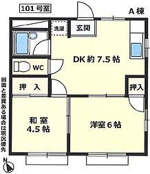 神奈川県藤沢市辻堂新町2丁目の賃貸アパートの間取り