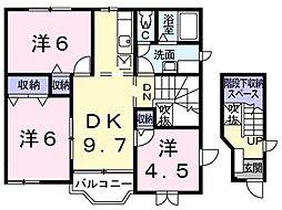 JR瀬戸大橋線 坂出駅 3.2kmの賃貸アパート 2階3DKの間取り