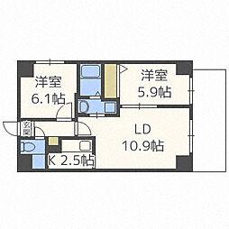 北海道札幌市中央区南十五条西8丁目の賃貸マンションの間取り