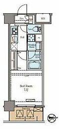 東京メトロ日比谷線 仲御徒町駅 徒歩6分の賃貸マンション 11階1Kの間取り