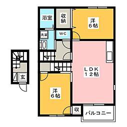 アンソレイエ B[2階]の間取り