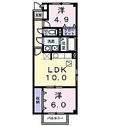 パームハイムS[1階]の間取り